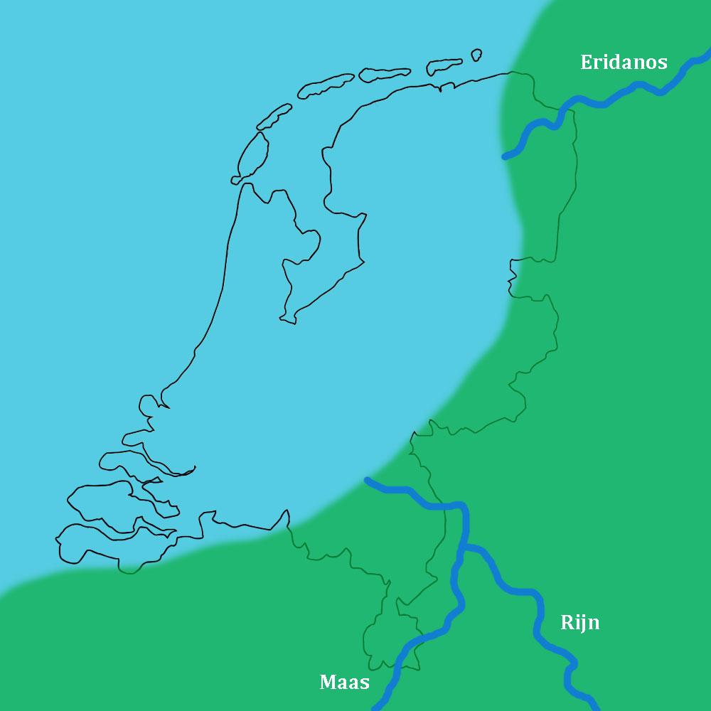 Nederland ongeveer 2,5 miljoen jaar geleden. Het merendeel waar nu Nederland is ligt in zee. Vanuit het Noordoosten mond de Eridanos rivier uit op de kust. Vanuit het Zuidoosten komen de samenkomende Rijn en Maas Nederland binnen.