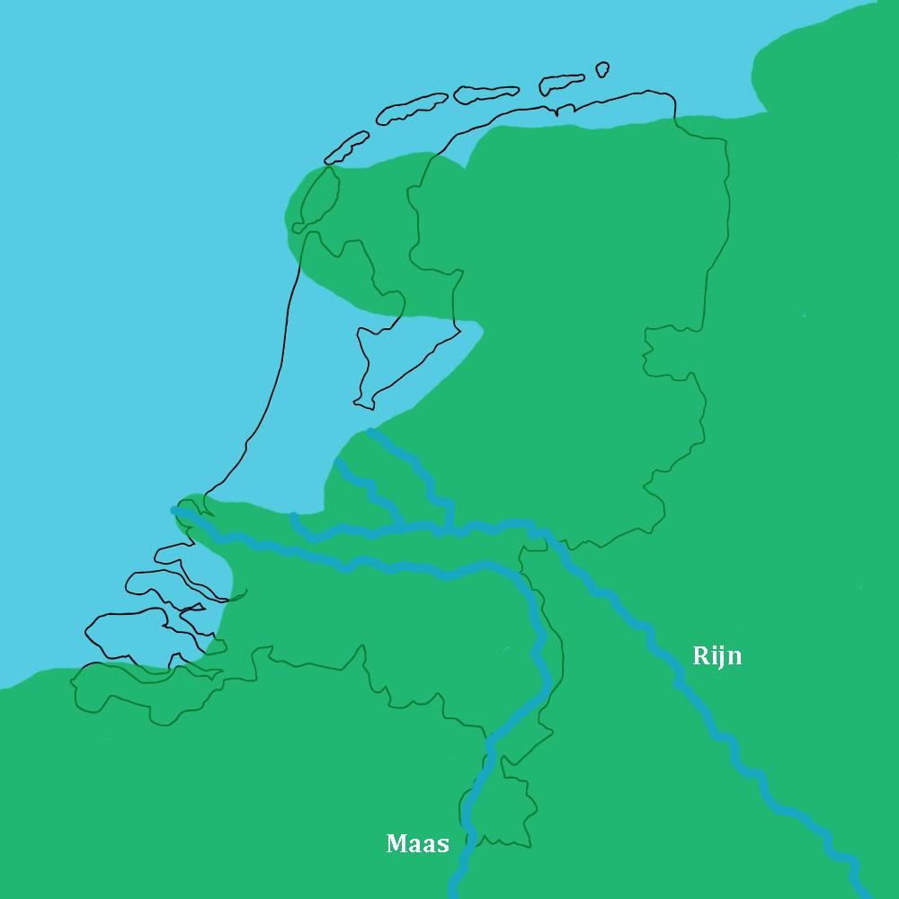 Nederland ongeveer 7.000 jaar gelden. Grote delen van West Nederland liggen nog in zee.