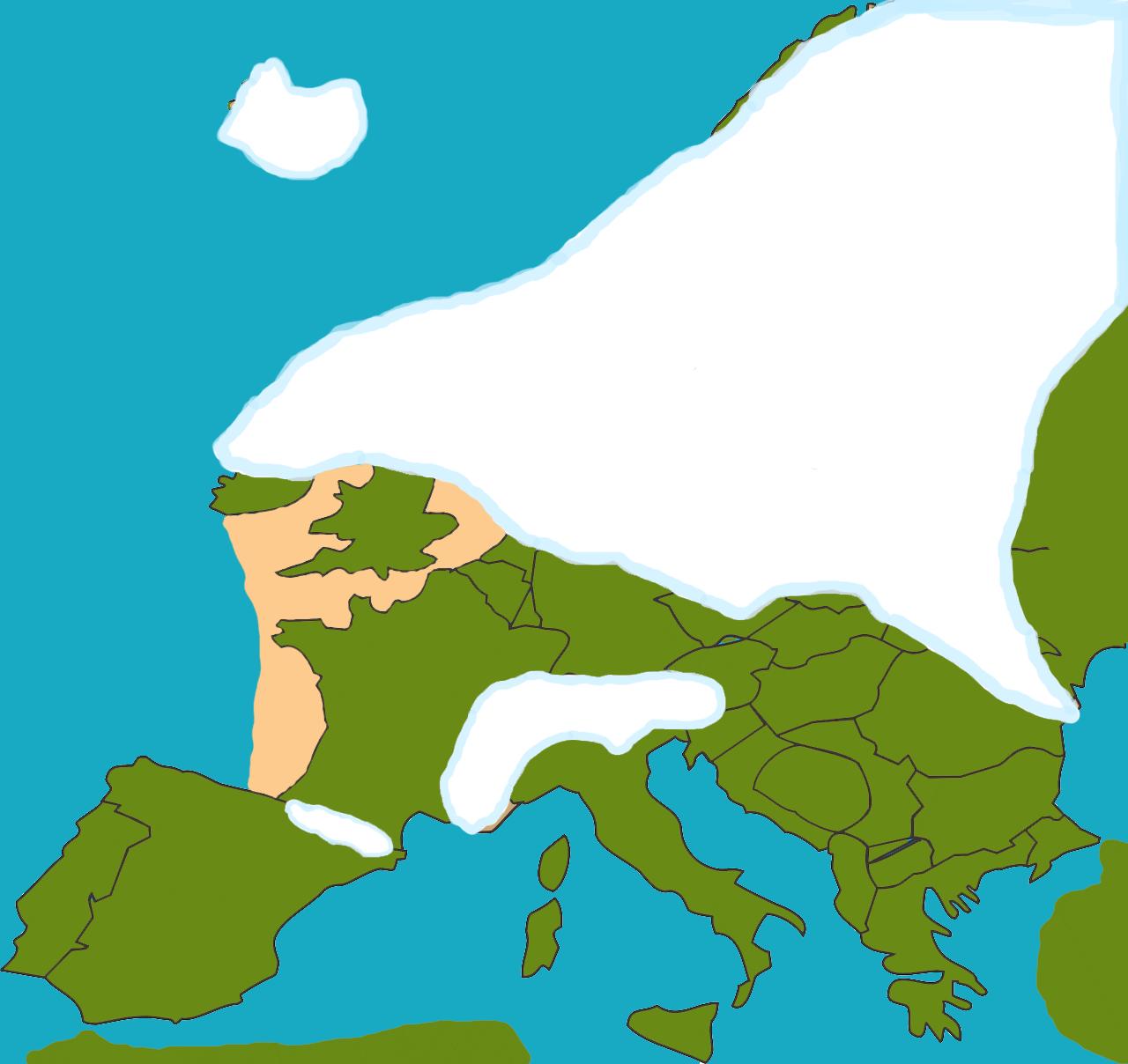 Voorlaatste ijstijd Het Saalien. Het ijs kwam tot aan midden Nederland en de Noordzee was droog komen te liggen omdat de grote ijsmassa het water uit de Noordzee wegtrok.