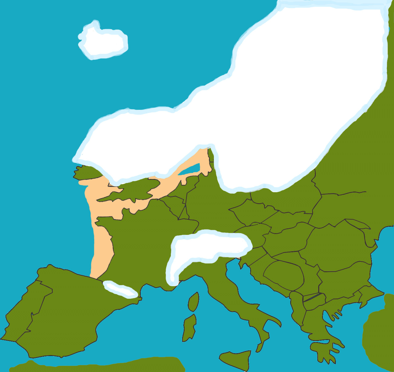 Gedurende het Weichselien bereikte het ijs Nederland niet. Het was hier echter wel bitterkoud. Door de grote ijsmassa's in het Noorden werd het water uit de Noordzee getrokken en deze stond dan ook droog.