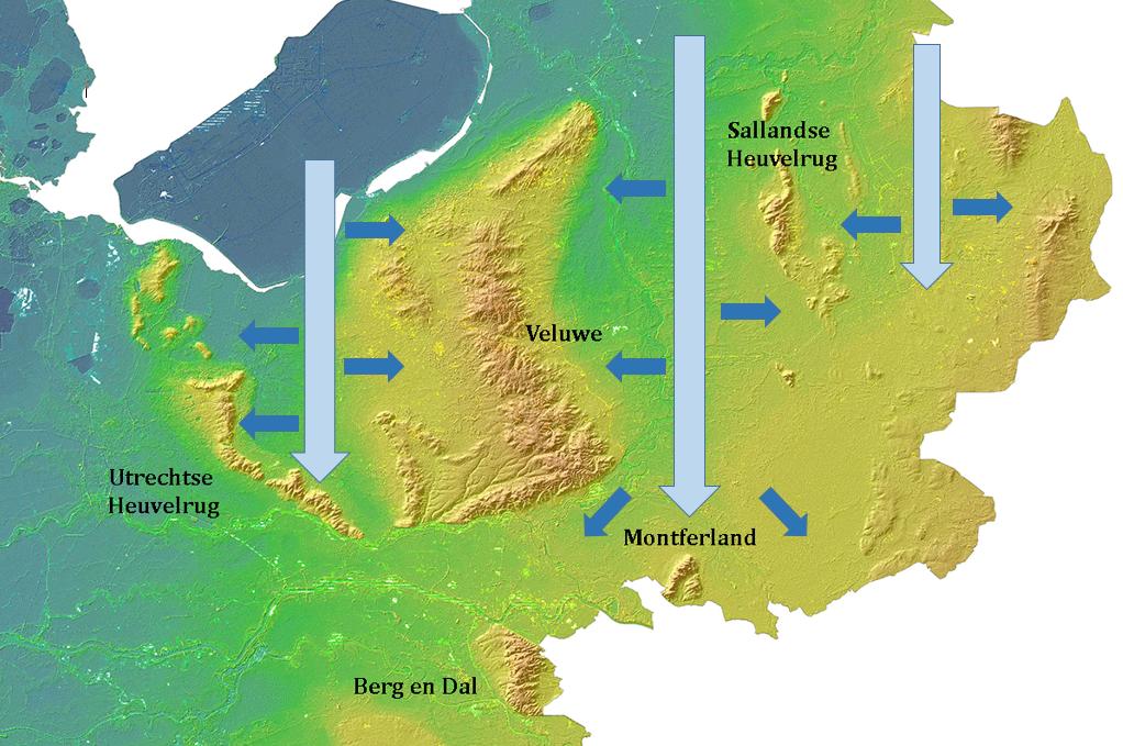 Kaart met een grafische weergave van de drie ijstongen die het landschap in midden en oost Nederland hebben gevormd.