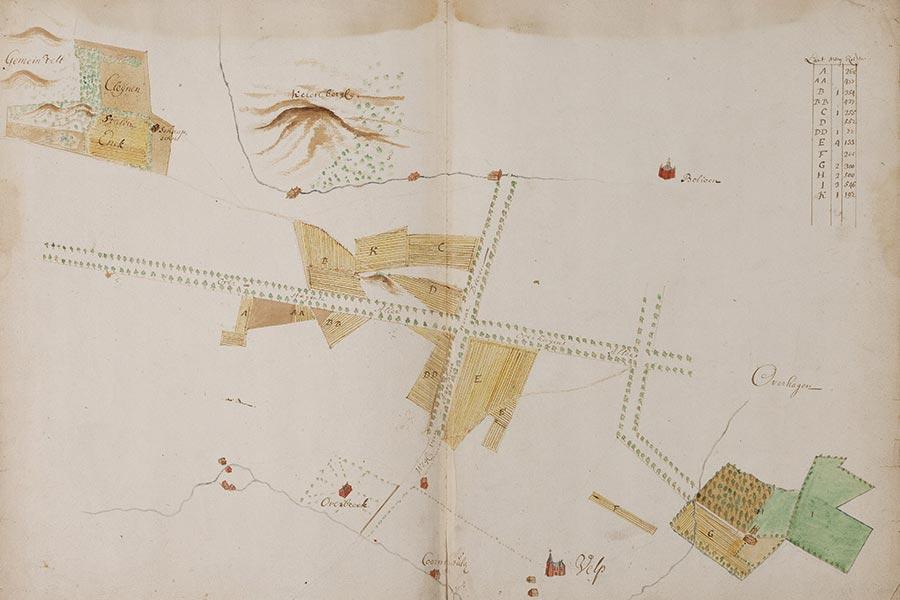 Gelders Archief-558-0004: in 1635 door Niclaes en Isack Geelkerck vervaardigde kaart uit het kaartboek van aan het St. Catharinae gasthuis toebehorende landerijen
