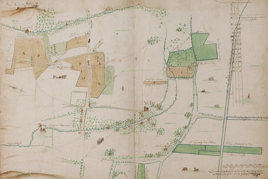 Gelders Archief-558-0005: in 1635 door Niclaes en Isack Geelkerck vervaardigde kaart uit het kaartboek van aan het St. Catharinae gasthuis toebehorende landerijen