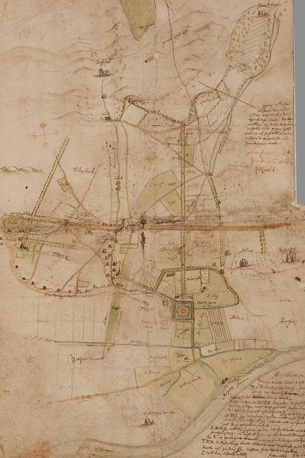 Gelders Archief -54: in 1651-1653 door Niclaes Geelkerck vervaardigde kaart i.v.m. een ruil van gronden tussen Hendrik graaf van Nassau en het St. Catharina gasthuis te Arnhem