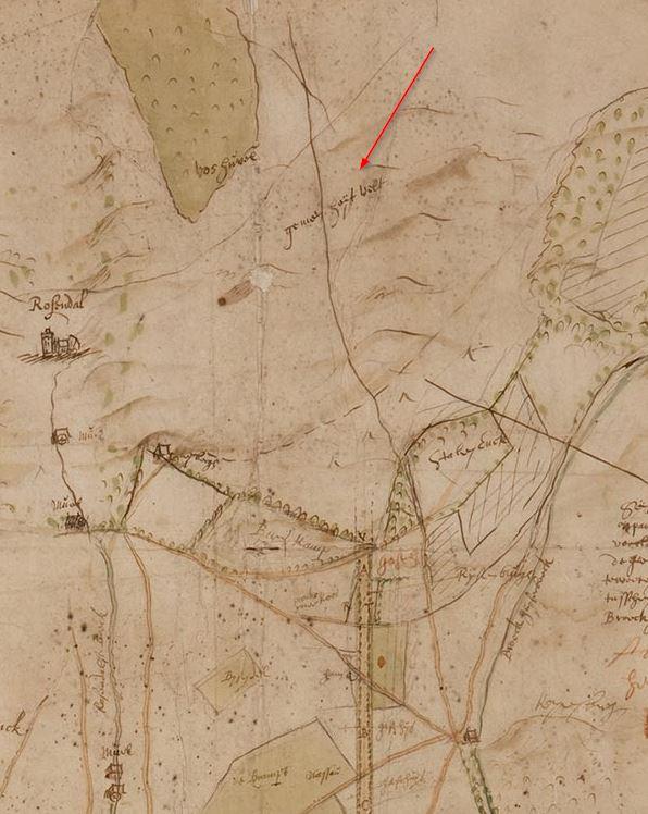Gelders Archief-54: in 1651-1653 door Niclaes Geelkerck vervaardigde kaart i.v.m. een ruil van gronden tussen Hendrik graaf van Nassau en het St. Catharina gasthuis te Arnhem
