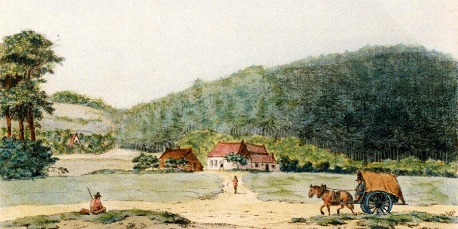 De Keienberg met de watermolen op de voorgrond 1790, bron: Gelders Archief