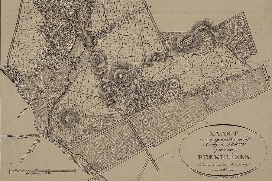 uitsnede kaart landgoed beekhuizen 1823, bron: Gelders Archief