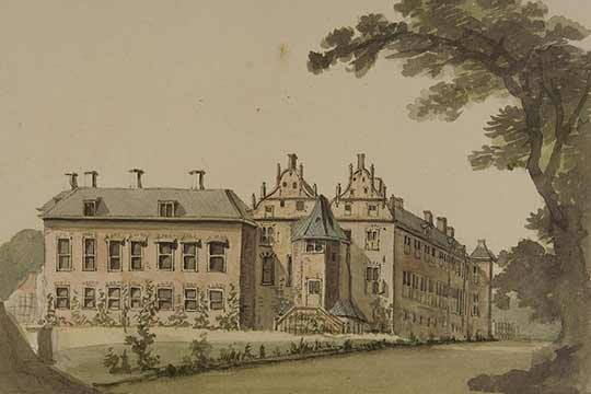 Hof te Dieren omstreeks 1770-1795. Dit jachtslot werd door de prinsen van Oranje gebruikt als verblijf tijdens hun jachtpartijen. De bossen rondom Dieren waren toen een van de laatste nog overgebleven bossen. Foto: Gelders Archief.